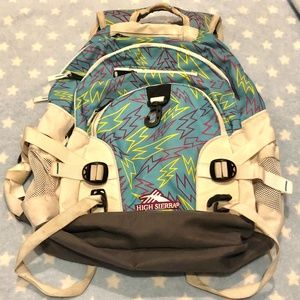 High Sierra Backpack White Blue Bolts